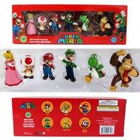 6pcs/set Super mario bros 3-7cm Figures toys PVC mario brother game Princess mushrooms model Action figure kids gift retail