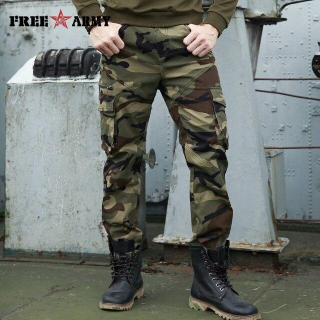 42eb31ba66 Outono Homens Marca de Moda Homens Calças Militares Calças Cargo de Multi-pockets  Baggy Casual