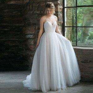 Image 1 - Lorie boho vestido de casamento espaguete cinta um tule longo sem costas branco praia vestido de casamento apliques rendas princesa vestido de noiva 2019