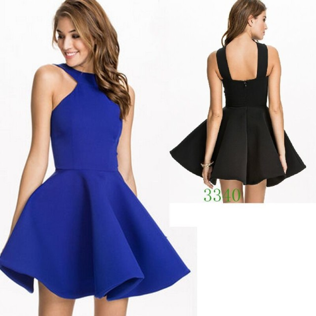 5f4e826e A Line Halter Sleeveless Flare Vestidos Casual Womens Designer Clothes 2015  Newest Summer Blue / Black Fashion Dress