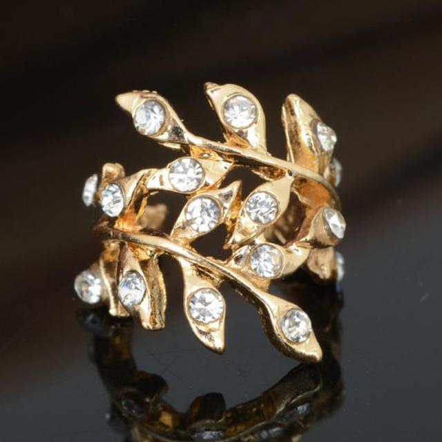 Nouveau mode strass or ton Clip boucles doreilles pour les femmes cristal feuille oreille manchette Wrap Punk rétro bijoux