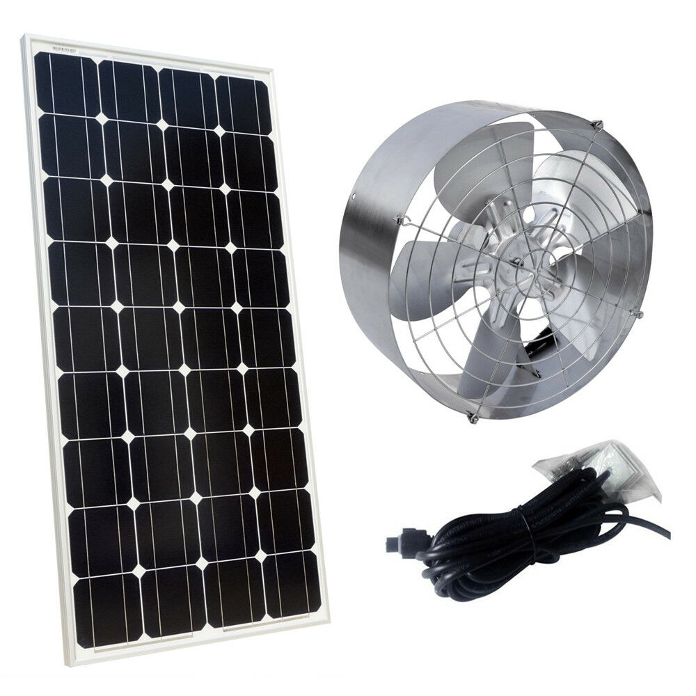 Vents Supply 65w Air Cooling Exhaust Fan 100w Pv Mono Solar Panel For Workplace/attic/home