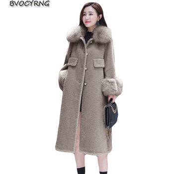 New High Quality Woolen Coat Women Autumn and Winter Warm Wool Jacket Female Large Fur Collar Long Windbreaker Loose Women Parka