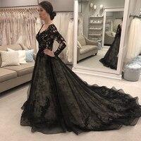 Vestido De Noiva Black Wedding Dresses Long Sleeves V neck Lace Bridal Gowns A line Appliques Beaded Wedding Dress