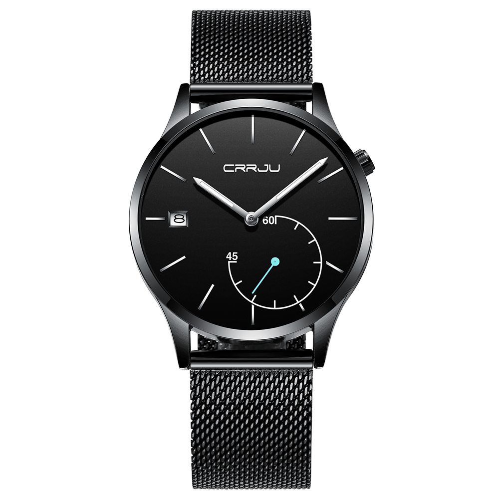 Top Luxury Brand CRRJU 2018 New men Fashion sports quartz Watches stainless steel mesh strap ultra thin dial date Leisure clock biden men s watches new luxury brand watch men fashion sports quartz watch stainless steel mesh strap ultra thin dial date clock