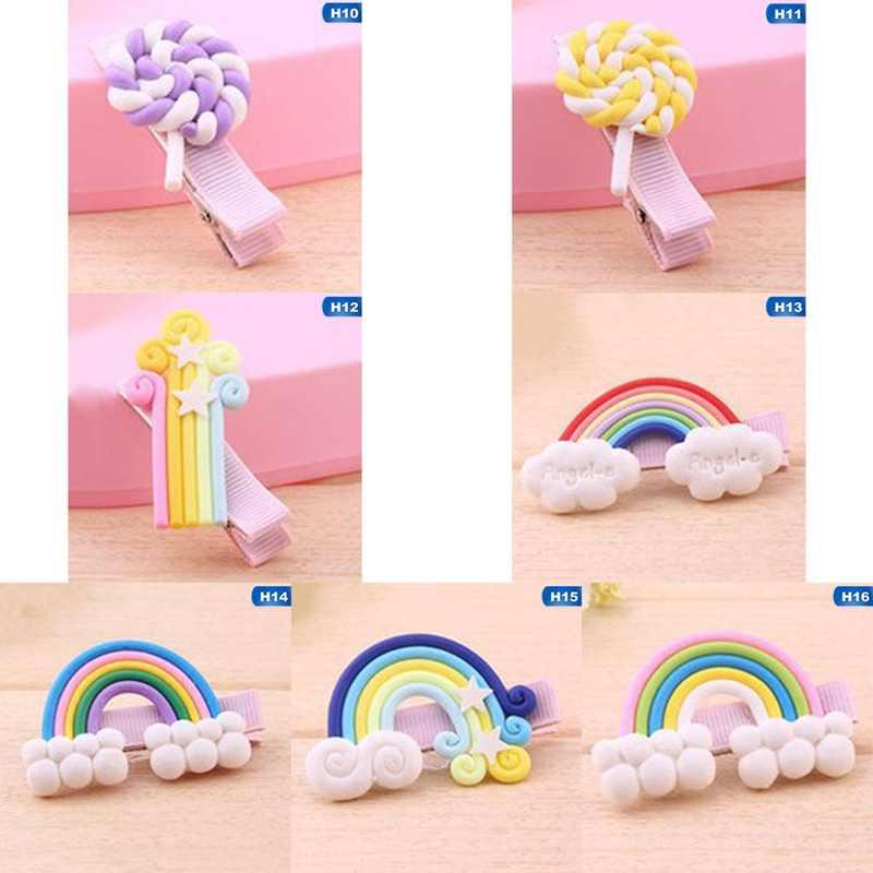 f1570a723532 Unicorn Party Rainbow Lollipop Headwear Hair Accessories Barrette Hairpins  Hair Clips For Girls Baby Kids Children