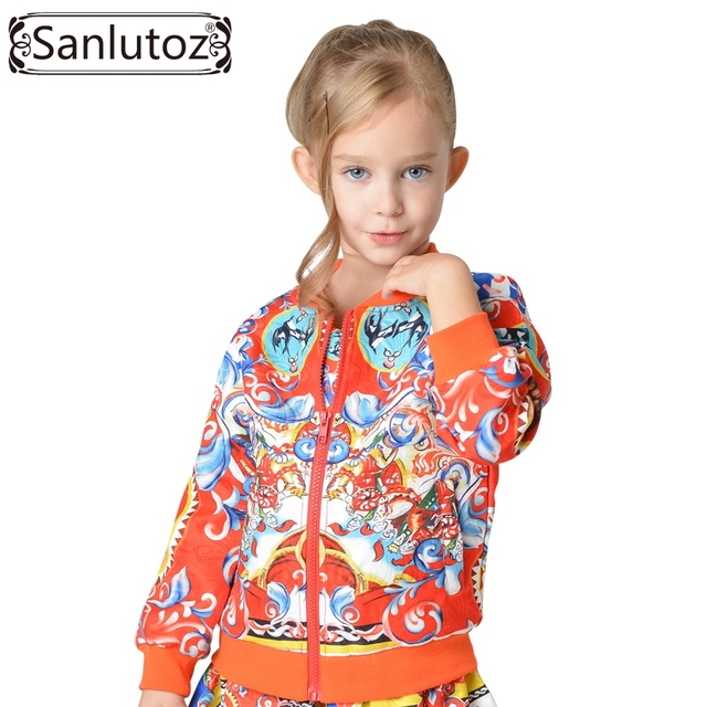 Sanlutoz Girls Jacket Children Outerwear Coats for Kids Clothing Flower Trench Coat Autumn Winter Sport Christmas Party 2016