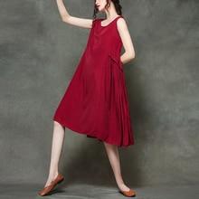 #0155 Casual Loose O-neck Sleeveless Midi Dress Woman 2019 Summer Red Black Gray Pleated Thin A-line Sundress Dresses Women цены