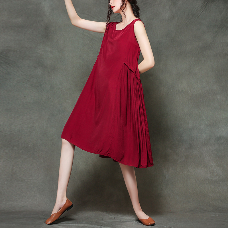 0155 Casual Loose O neck Sleeveless Midi Dress Woman 2019 Summer Red Black Gray Pleated Thin A line Sundress Dresses Women in Dresses from Women 39 s Clothing