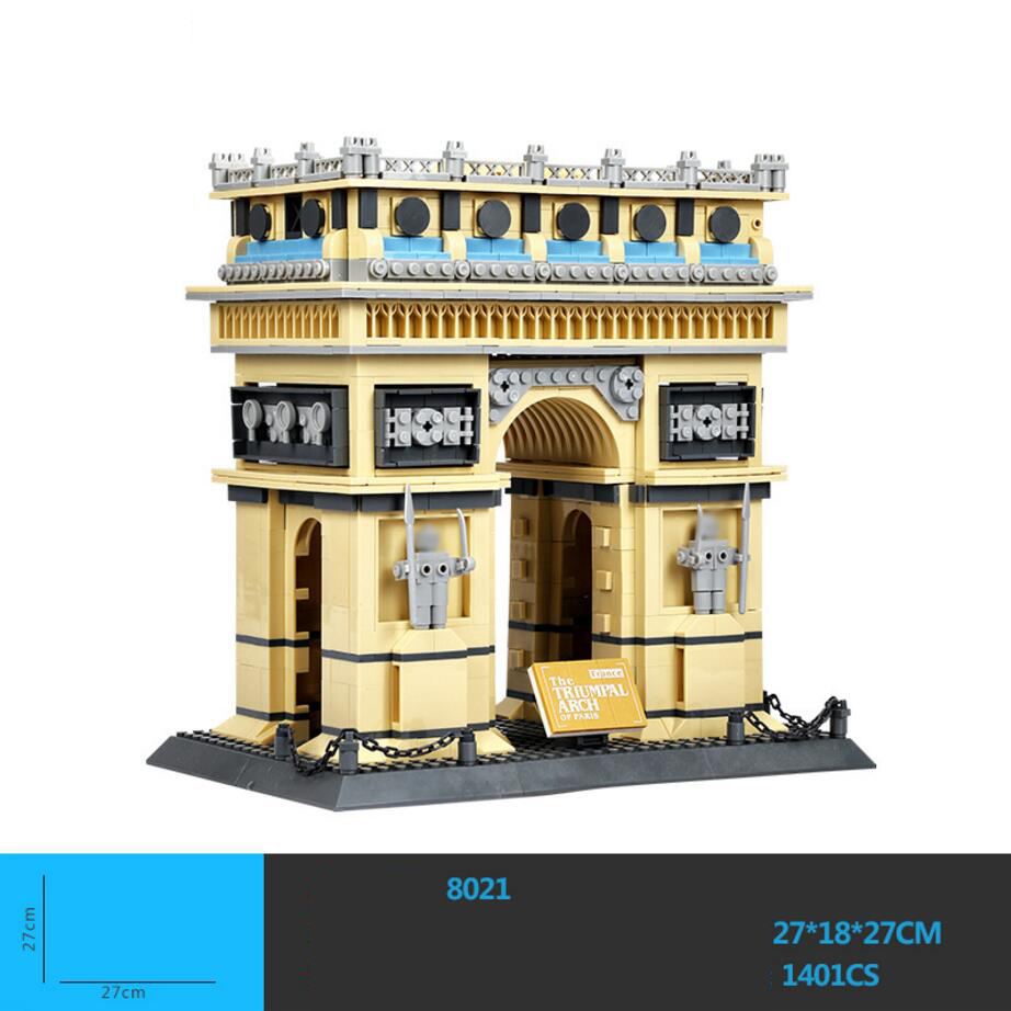 Hot world famous Architecture Triumphal Arch Paris France building block model bricks educational toys collection for kids gifts loz mini diamond building block world famous architecture nanoblock easter island moai portrait stone model educational toys