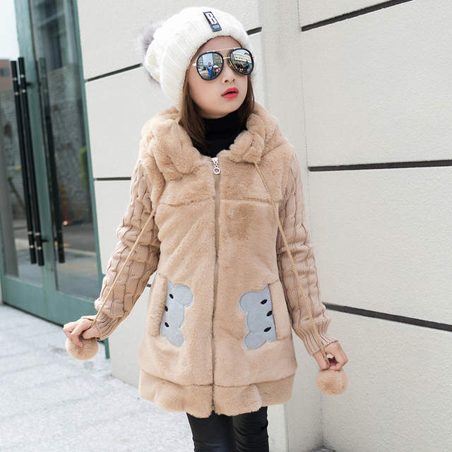 4338b976c Online Shop 6 year girls sweater fake fur coat thicker fall and ...