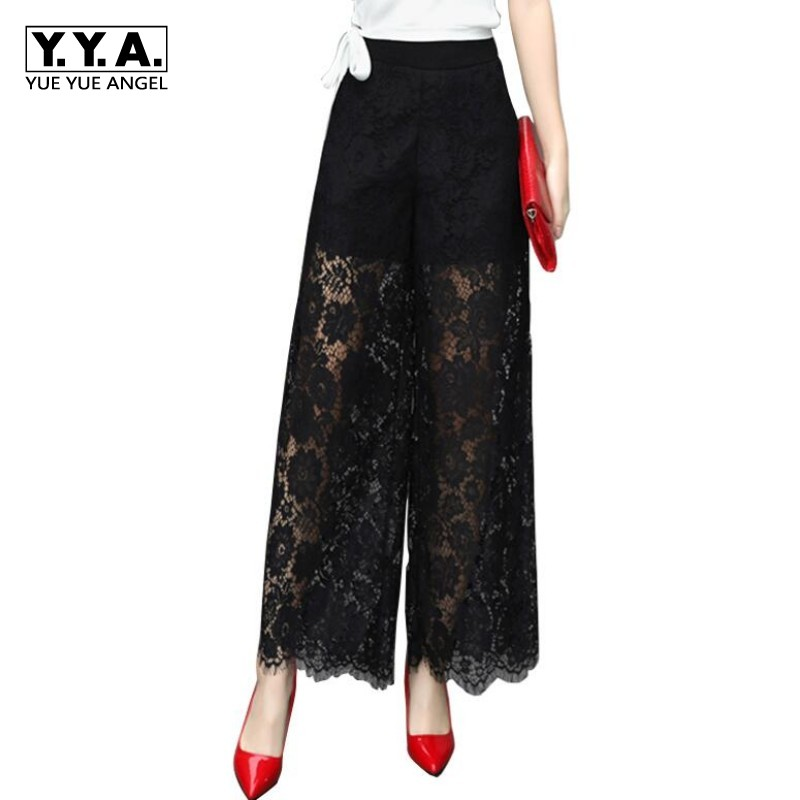 High Quality Sexy Lace Flower Transparent Female Pants Full Length High Waist Loose Trousers For Women Hollow Out Pantalon Femme summer women stretch slim pencil pants full length sexy ripped hole skinny high waist trousers plus size pantalon femme page 4
