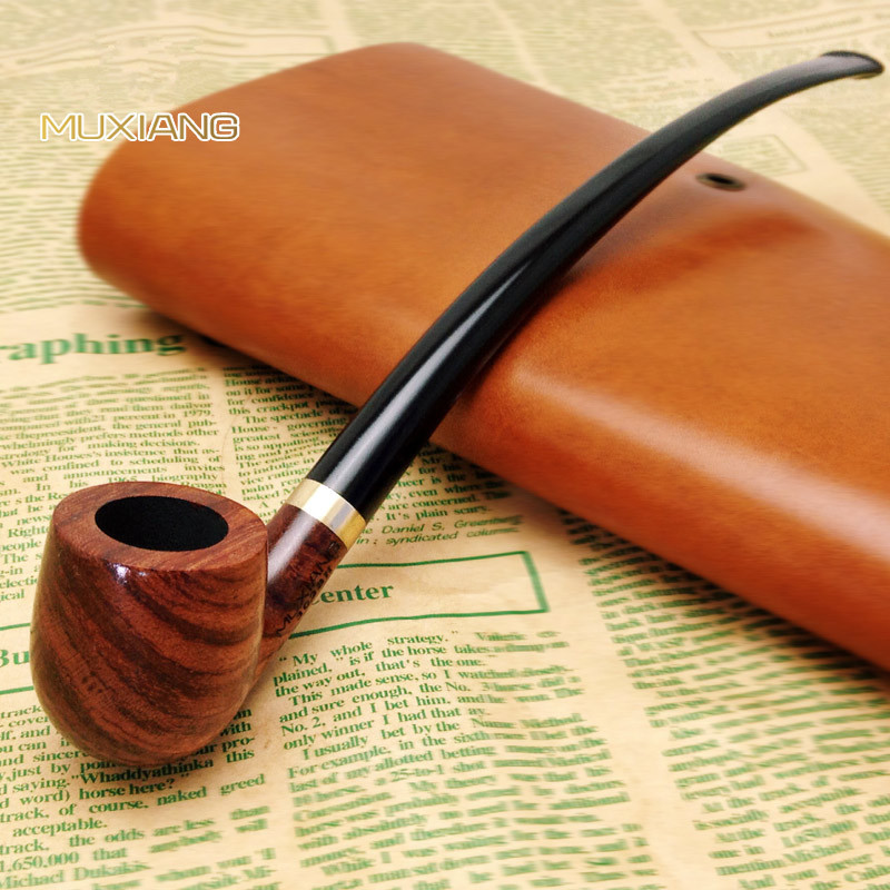 Rosewood Bent Type Long handle Smoking Pipe Wooden Tobacco Pipe for Smoking Weed Pipe