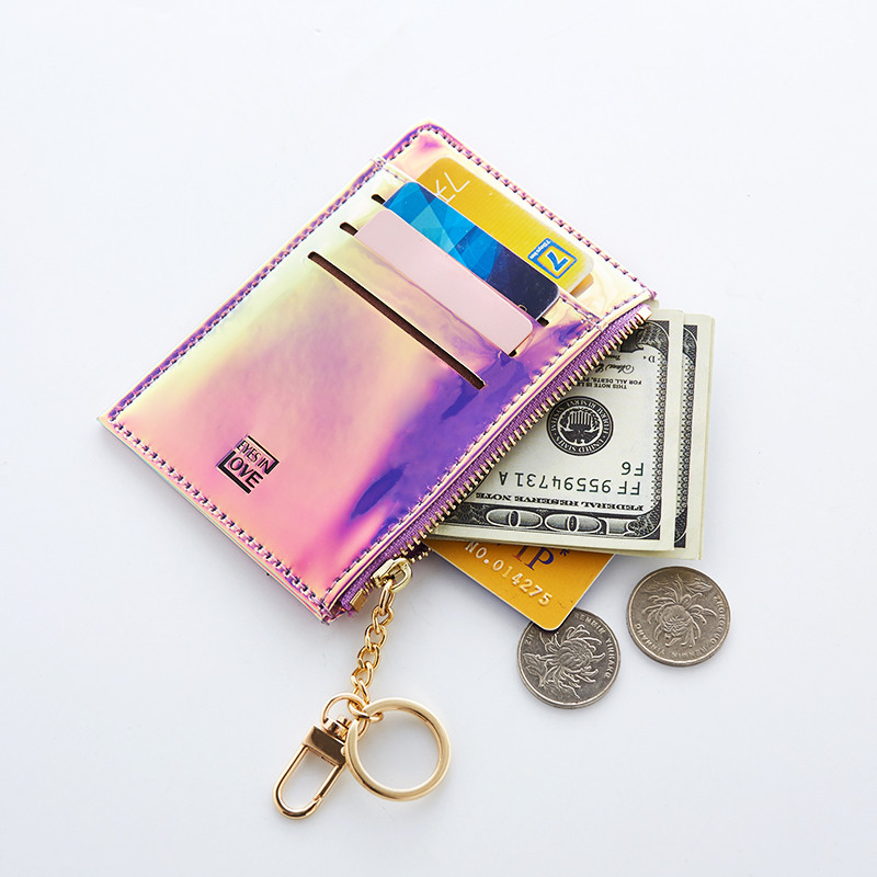 New Lanyard Laser Holographic Wallet Women Mini Purse Female Clutch Bag Women Wallets Purses Zipper Coin Pocket Card Holders