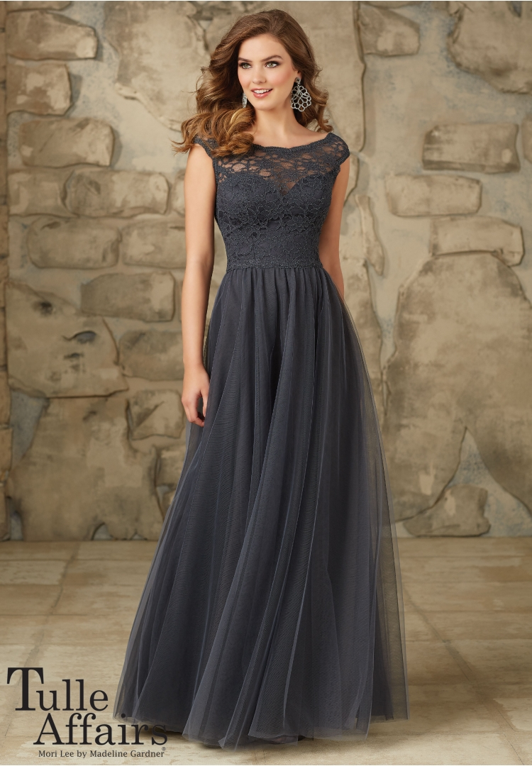 2018Tulle   Bridesmaid     Dresses   Long Lace High Neck Backless Floor Length Gray Prom Party   Dress   Cheap