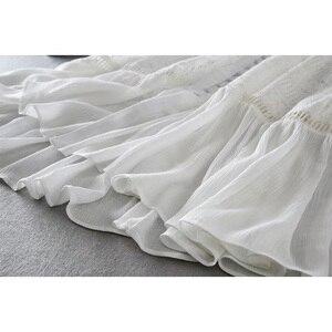 Image 5 - Ordifree 2020 yaz kadın uzun tunik plaj elbise Sundress uzun kollu beyaz dantel seksi Boho Maxi elbise tatil elbise