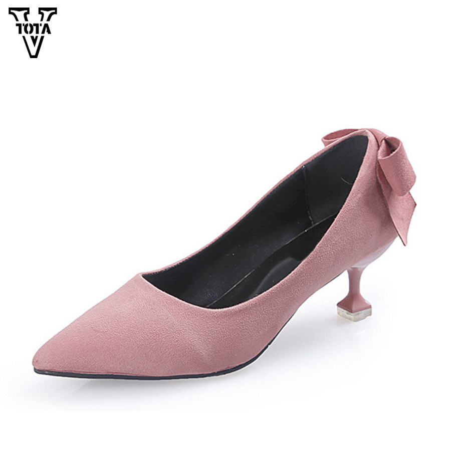 VTOTA Spring Butterfly Women Pumps Fashion Flock Ladies High Heels Pointed Toe Office Lady Shoes Female Pink Cat Heels 5cm LS fashion women pumps flock high heels