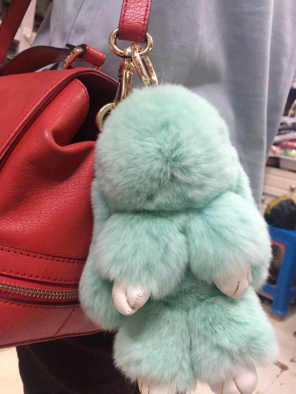 Cute Bunny Purse Charm tote handbag accessories kawaii Rabbit pendants bag  charm keychains Mint Green Puffs Genuine Fluffy 8214af98f