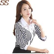 e577d49d37c52 2019 Sparshine Spring Korean Slim Lace Black Stripe Women s Shirt Chiffon Blouse  Fashion Style Turn-down Collar Blusas Femininas