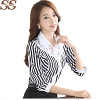 2017 Sparshine Spring Korean Slim Lace Black Stripe Women S Shirt Chiffon Blouse Fashion Style Turn