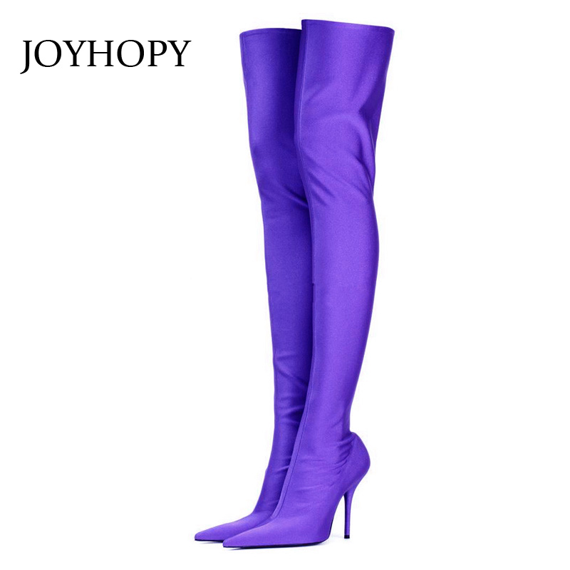 Joyhopy Stretch Stoff Frauen Super Hohe Ferse Ofenrohr Über Die knie Stiefel  Fashion Solid Spitz Oberschenkel 403ce8ac0c