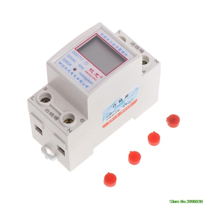 цена на 5(60)A 220V 50HZ Single Phase Din Rail KWH Watt Hour Din-rail Energy Meter LCD