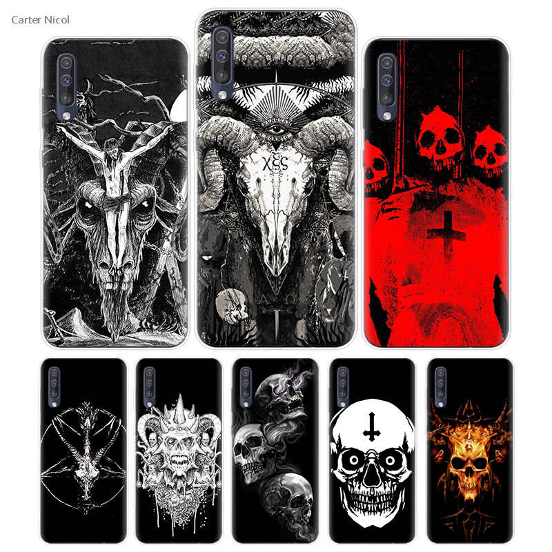 Transpatrent Silicone Case for Samsung Galaxy A50 A70 A30 M30 M20 A10 A20 A40 M20 Cover Phone Satanic Skull