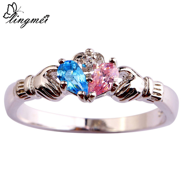 lingmei Claddagh Jewelry Fashion New Lady Blue Pink White CZ  Silver Color Ring Size 6 7 8 9 10 11 12 Love Style Gift Wholesale