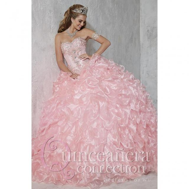 fc719e6d9a10 Vestido De 15 Anos Stuning Princess Appliques Beaded Organza Ball Gowns  Puffy Light Pink Quinceanera Dresses 2017