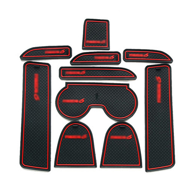 Teeze 1set Non-Slip Interior Soft Rubber Door Panel Mats Cup Holder Pad For Mazda 6 2003-2005