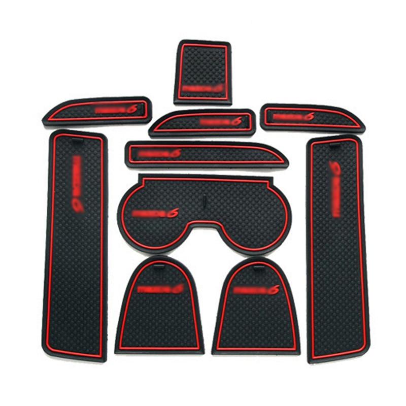 Teeze 1set Non-Slip Interior Soft Rubber Door Panel Mats Cup Holder Pad For Mazda 6 2003-2005