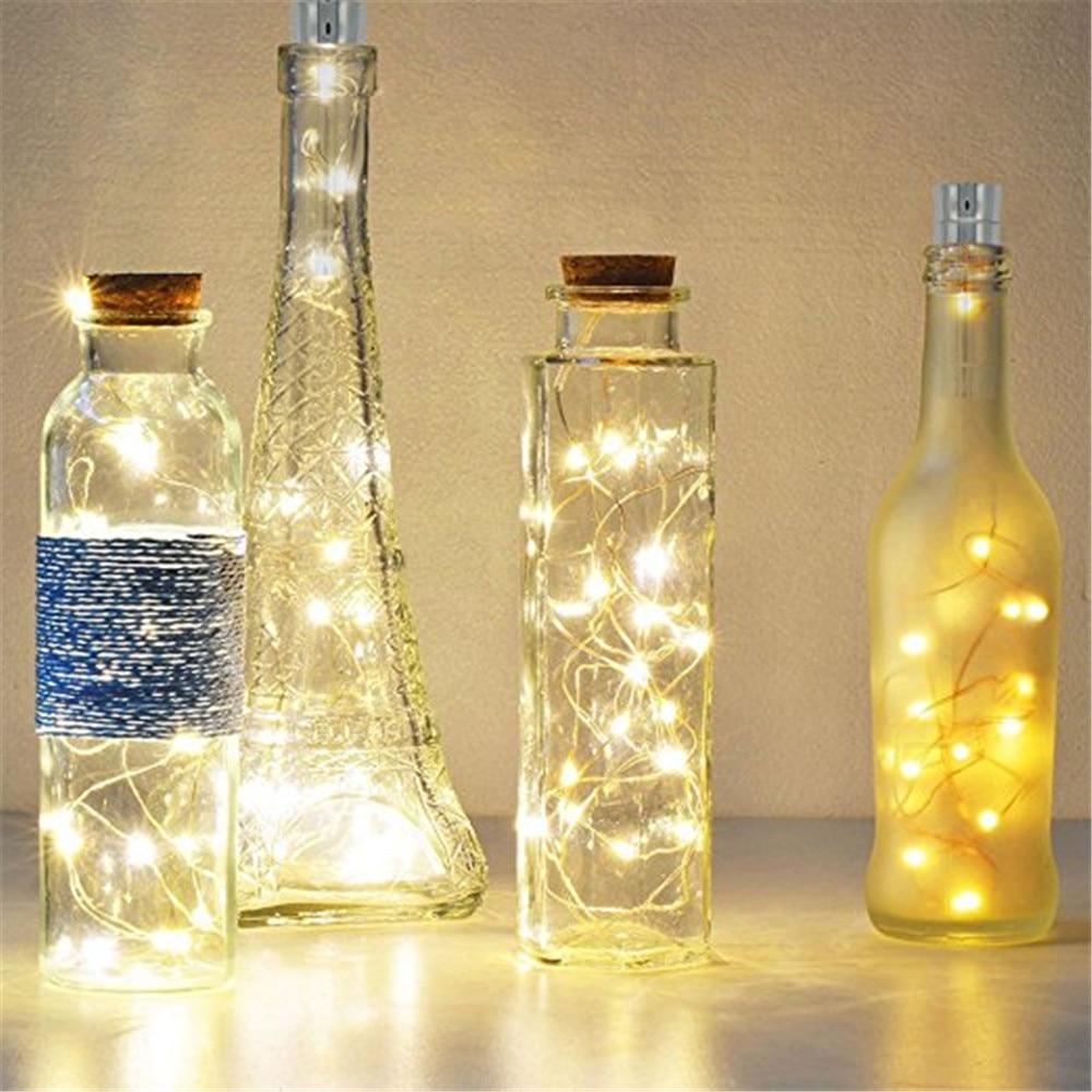 ECLH 1*AA battery power Warm white Bottle Lights LED Cork Shape String Lights for Bistro Wine Bottle Starry Bar Party Valentines-in Novelty Lighting from Lights & Lighting