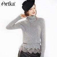 Artka 2018 осень и зима 100% кашемир кружева лоскутное кружева оборками Винтаж трикотажный пуловер свитер SC10175Q