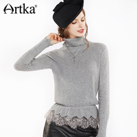 Artka 2018 Autumn&Winter 100% Cashmere Lace Patchwork Lace Ruffles Vintage Knitted Pullover Sweater SC10175Q