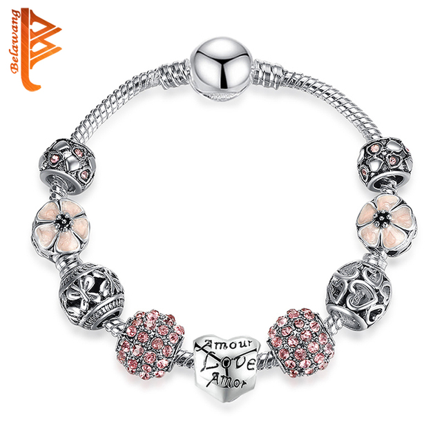 BELAWANG Fashion 925 Silver Charm Bracelet & Bangle Wedding Love and Flower Crystal Beads Bracelets for Women Authentic Jewelry