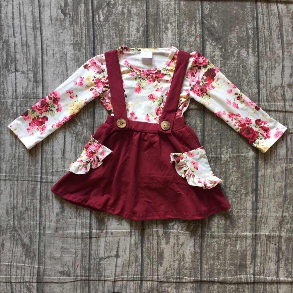 2 pieces sets girls Fall/winter clothes children girls floral top with wine red skirts sets clothing girls boutique clothes sets pink and red children sets baby girls