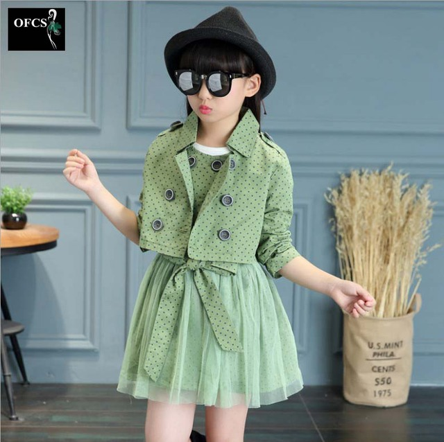 Children's Clothing Sets Kids Girls Korean Clothes Set Child Dot Sports Suits Girl Dress+Coats 2 Pcs Suit Piece Kid Casual Suit