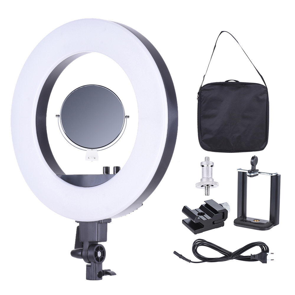 Online get cheap led lamp rings aliexpress alibaba group cy r50l 18 studio led lamp ring light 3200k 5500k photography video light with make up mirror smartphone holder cold shoe base parisarafo Choice Image