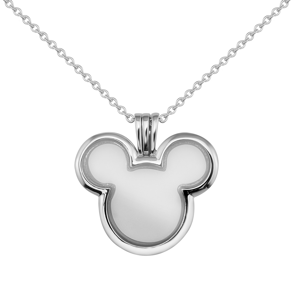 Pandulaso Cartoon Miki Mouse Floating Locket Necklaces for Women New Fashion Silver 925 Jewelry DIY Glass