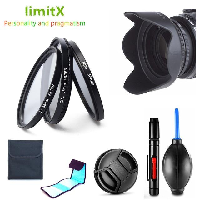 Kit de filtro UV CPL ND4 + parasol + tapa + bolígrafo de limpieza para Canon EOS 2000D 4000D 1500D 3000D Rebel T7 T100 con lente de 18 55mm