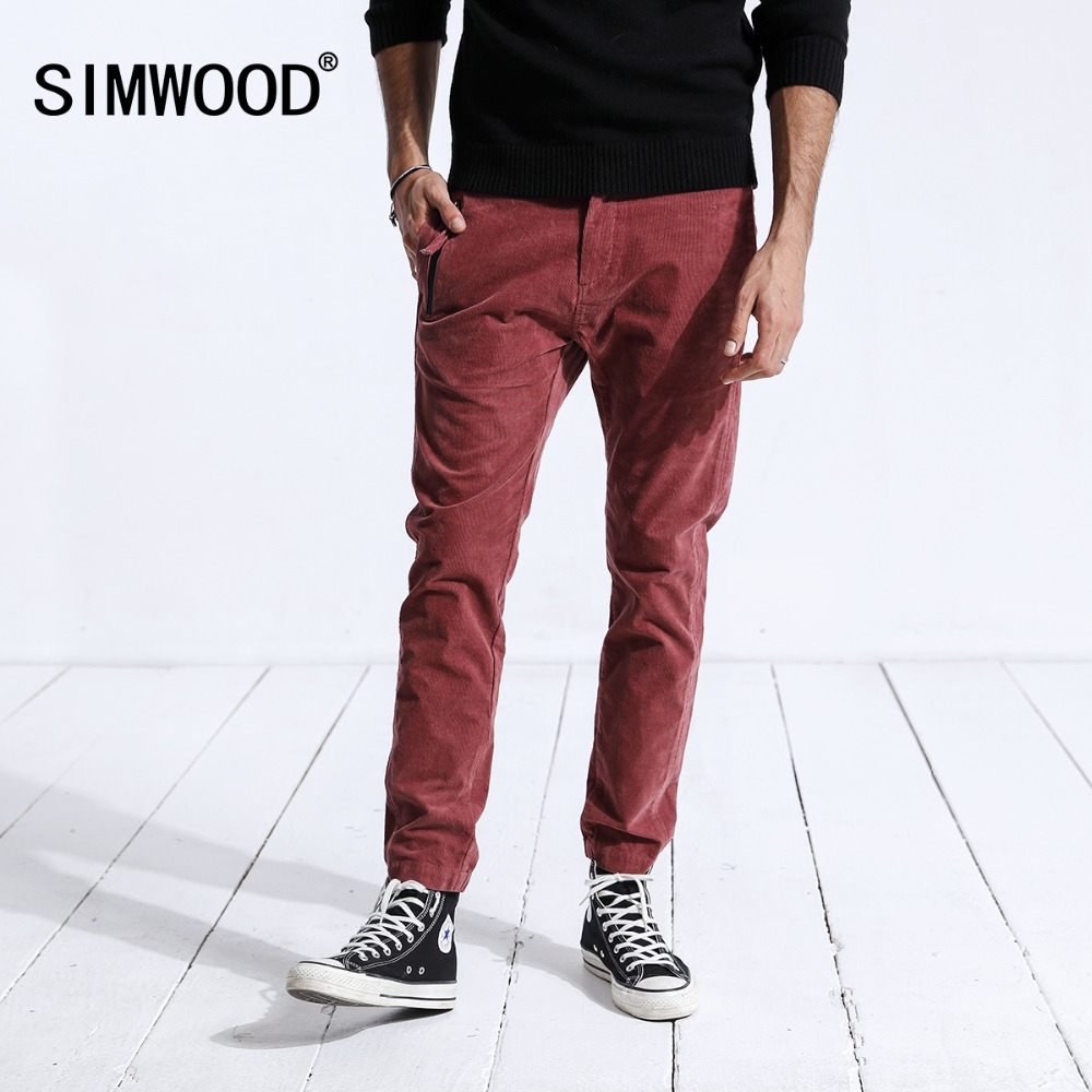 SIMWOOD 2019 Winter Casual Pants Men Fashion Skinny Corduroy Slim Fit Plus Size Warm Trousers Pencil Pants Brand Clothing 180484