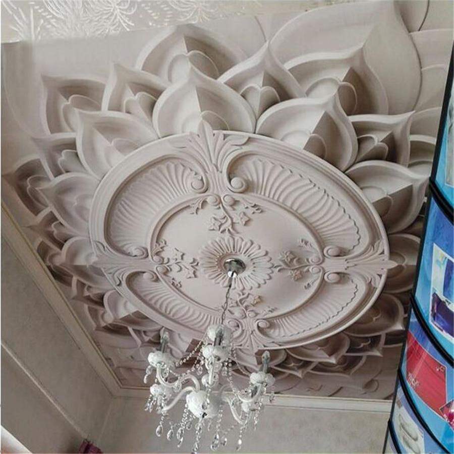 Beibehang personalizado papel de parede 3d foto murais luxo estilo palácio estilo europeu teto tv fundo