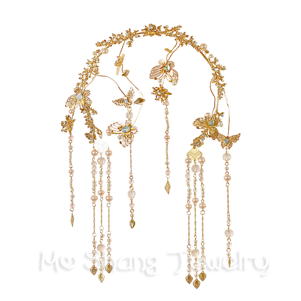 ff373f580d75e 2018 Chinese Wedding Crystal tiara Butterfly Shape Gold Head Chain For  Bride Hair Accessories Women Rhinestones Hair Jewelry