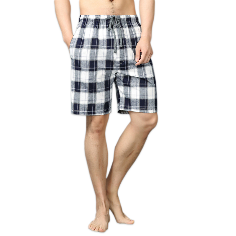 Sexy Plaid 100% Cotton Home Shorts Men Sleep Bottoms Summer Thin Loose Casual Male Pajamas Arrow Pants Short Sleep Pants