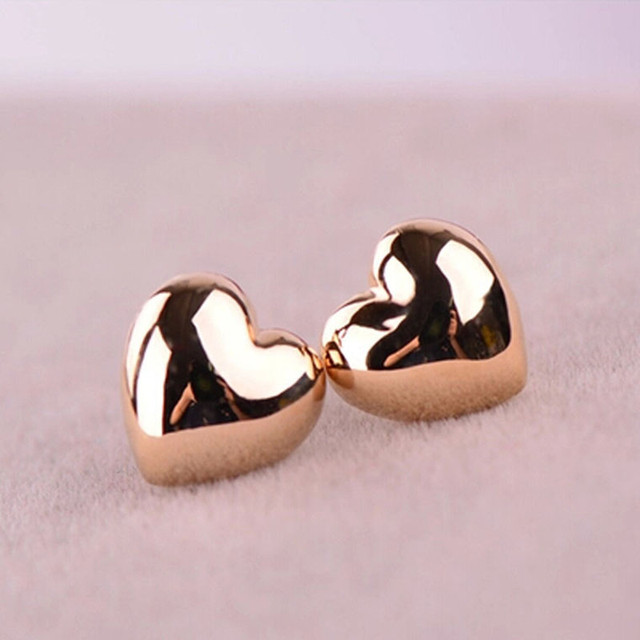 H:HYDE Classic Simple Rose Gold Color Heart Shape Stud Earrings Sweet Ear Jewelry For Women Valentine's Day Gift