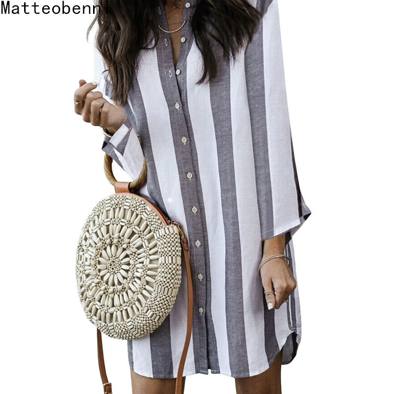 Fashion Long sleeve Striped Button Shirt Dress 2018 Women's Vacation Bohemian Beach Dress Sexy Deep V Loose Dresses Casual Dress