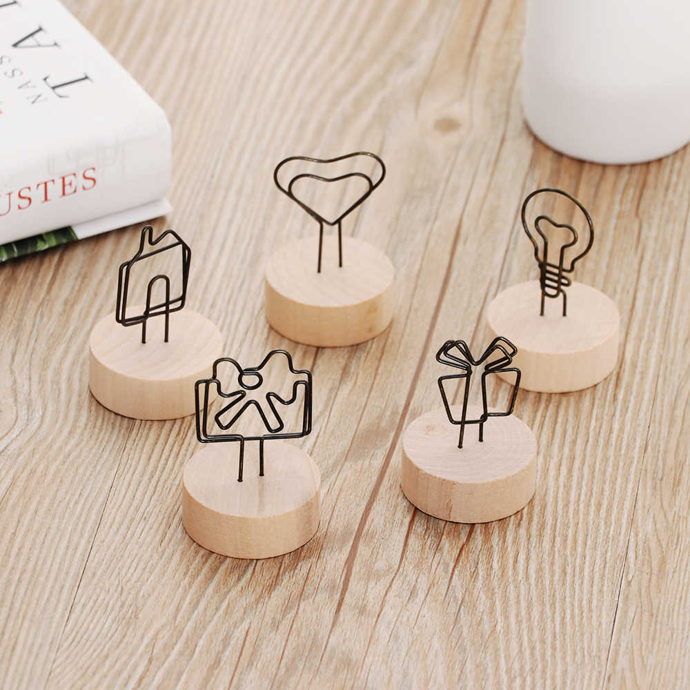 1PC Creative Round Wooden Photo Clip Memo Name Card Pendant Holder Note Articles Picture Frame Table Number Wedding Photo Stand