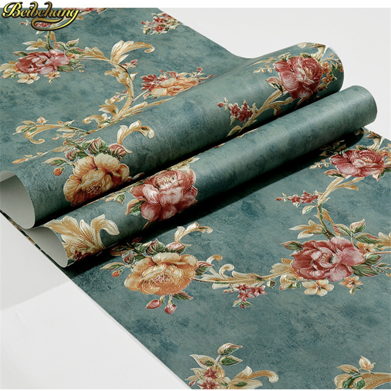 beibehang American village flowers Wall papers Home Decor Flower Non Woven Wallpaper for wall decorative Bedroom Wallpaper roll beibehang delicate flocking environmentally friendly non woven wallpapers living room bedroom wall papers home decor wallpaper