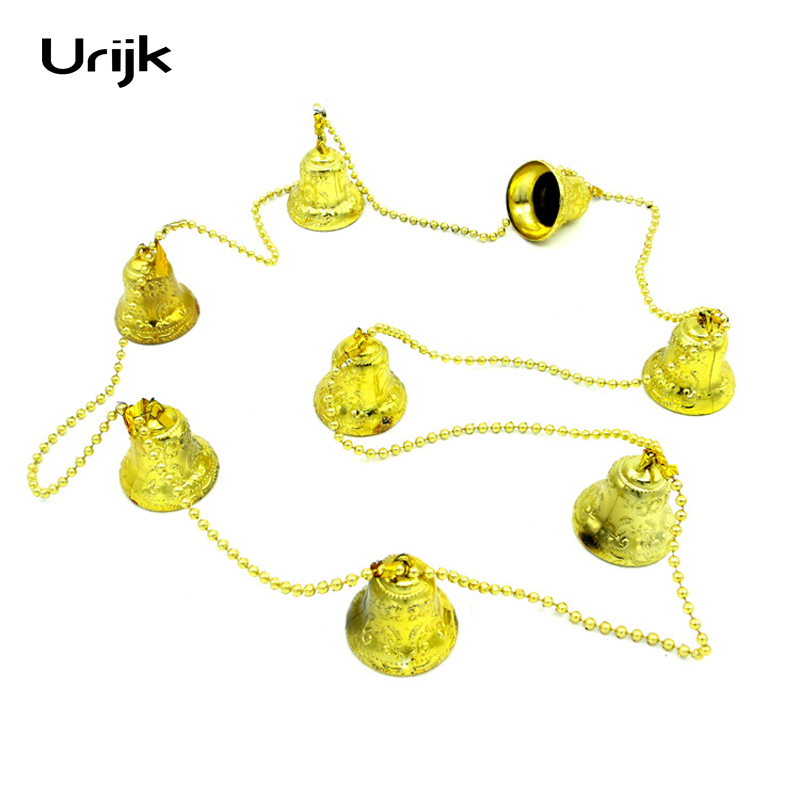 urijk golden bells string christmas party decoration five colors supplies christmas bell red hanging ornament large size 1pc pvc