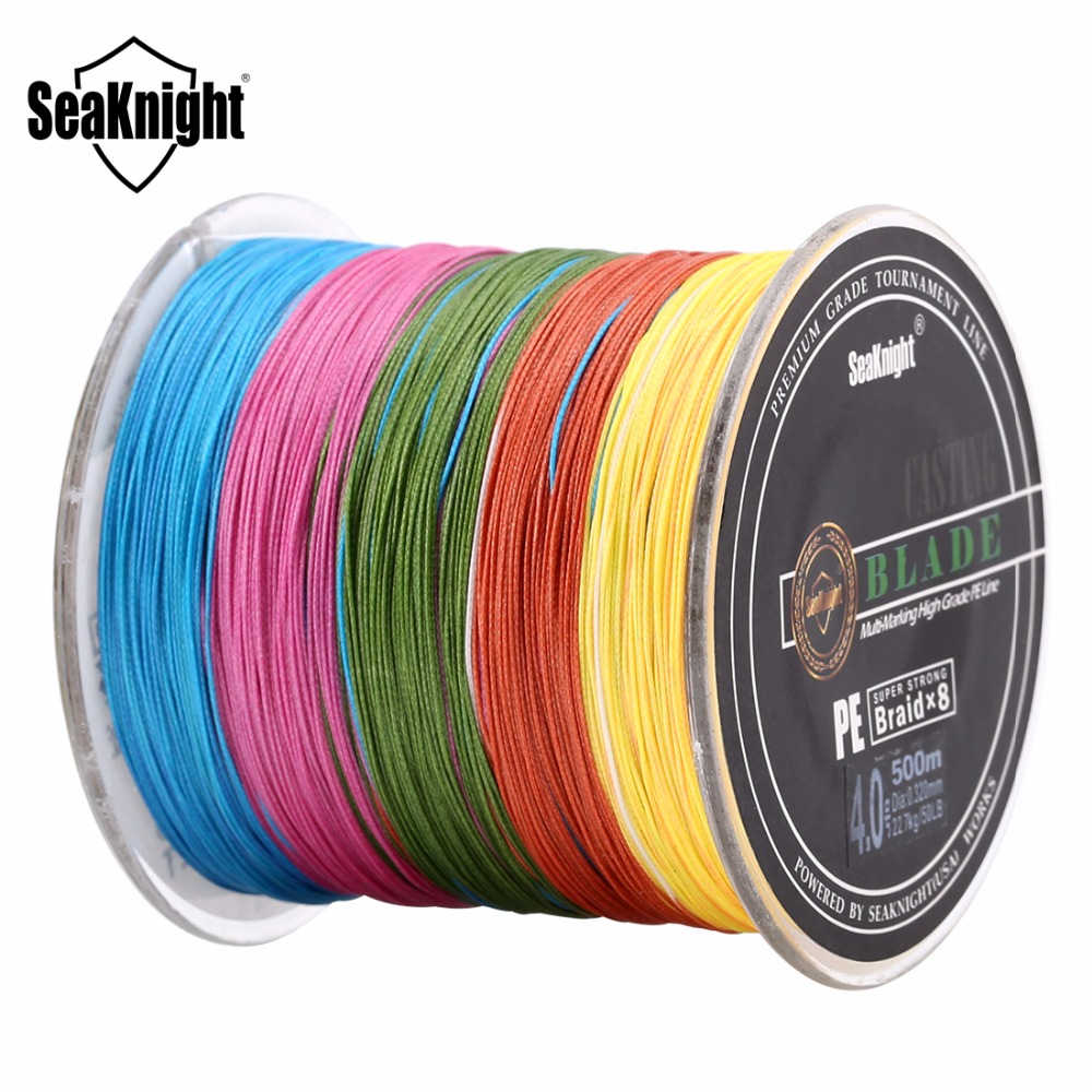 SeaKnight Fishing Line 8 Strands 500M Multicolor Super Strong PE Braided Brand Carp Sea Fishline Wire 20-100LB Fishing Tackle